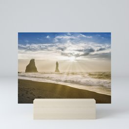 Reynisdrangar peaks in front of Reynisfjara beach Mini Art Print