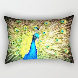 Iridescent peacock on the night Rectangular Pillow