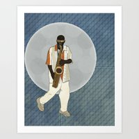 saxophone Art Prints featuring Saxophone Musician by Aquamarine Studio