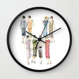 Vintage Flapper Fashion Dress Patterns Wall Clock