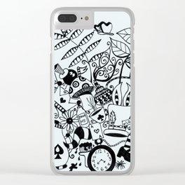 Wonderland Doodle Clear iPhone Case