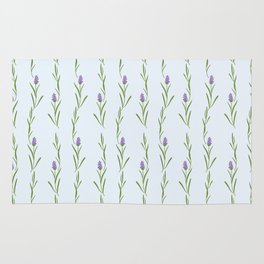 Modern artistic pastel blue lavender watercolor floral pattern Rug