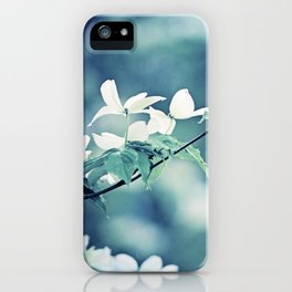 Navy Blue White Nature Photography, Dogwood Tree Branches, Dark Flower Floral Branch, Botanical Blue iPhone Case