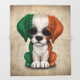 Cute Puppy Dog with flag of Ireland Throw Blanket