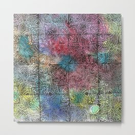 Tiled Starburst Floral Blockprint Metal Print