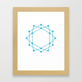 Connected Dots - Blue Framed Art Print
