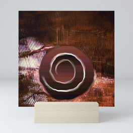 White spiral on brown Mini Art Print