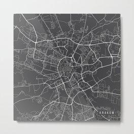 Krakow Map, Poland - Gray Metal Print