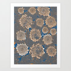 Orange Marigolds on blue Art Print