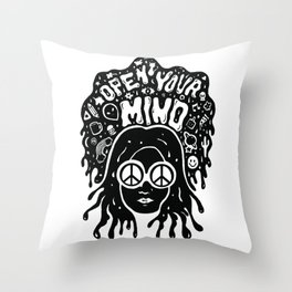 Open Your Mind in black Throw Pillow