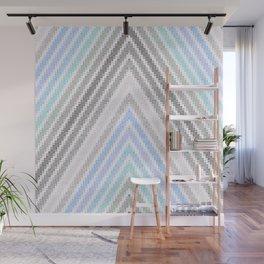 Chevron Pixels Blue Aqua Gray Wall Mural