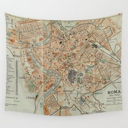 Vintage Map of Rome Italy (1911) Wall Tapestry