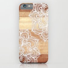 White doodles on blonde wood - neutral / nude colors Slim Case iPhone 6