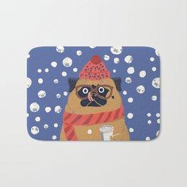 Pug in Snow Bath Mat