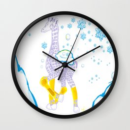 Winter is Coming - Midas is Ready - Christmas Lavender Giraffe Wall Clock