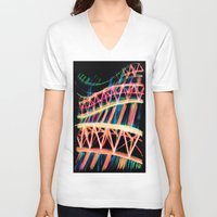 industrial V-neck T-shirts featuring NEON INDUSTRIAL by JESSIE WEITZ