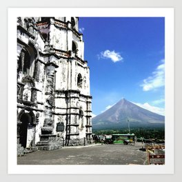 Mayon Volcano & the Old Church Art Print