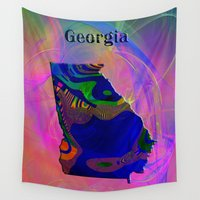 georgia Wall Tapestries featuring Georgia Map by Roger Wedegis