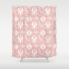 Mid Century Modern Atomic Space Age Pattern Dusty Rose Shower Curtain