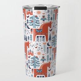 Scandinavian Inspired Folkstory - Red + Blue Travel Mug