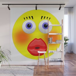 Smiley Embarrassed Kissing Girl Wall Mural