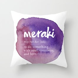 Meraki Word Nerd Definition - Purple Watercolor Throw Pillow