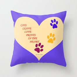 Cats Leave Love Prints In The Heart By Annie Zeno  Throw Pillow