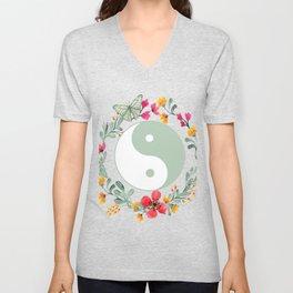 Floral Yin Yang Unisex V-Neck