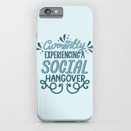 Introvert Social Hangover in Blue iPhone Case