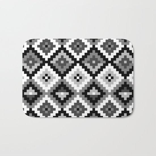 Aztec pattern - black & white Bath Mat