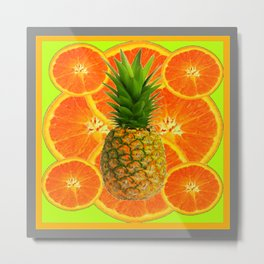 MODERN ART HAWAIIAN PINEAPPLE & ORANGE SLICES FRUIT Metal Print