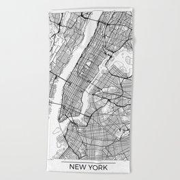 New York City Neutral Map Art Print Beach Towel