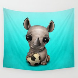 Cute Baby Rhino With Football Soccer Ball Wall Tapestry