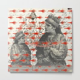 THE TWO WOMEN WITH COIN NECKLACES AND THE MANY SMALL RED LOBSTERS Metal Print