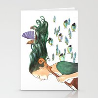 cello Stationery Cards featuring Sofia (Cello) by Vivian Cheung
