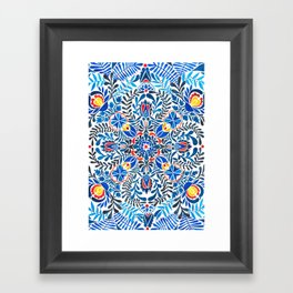 Blue-red mandala Framed Art Print