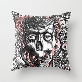 Steampunk machine skull Throw Pillow
