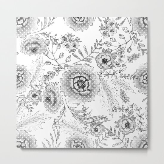 Black and white watercolor floral pattern with polka dots . Metal Print
