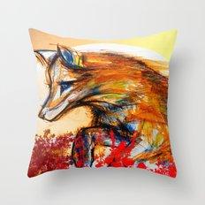 Fox in Sunset II Throw Pillow