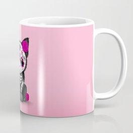 Cute Pink Day of the Dead Kitten Cat Coffee Mug