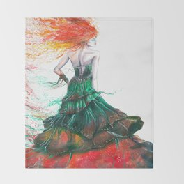 Lady Fire  Throw Blanket