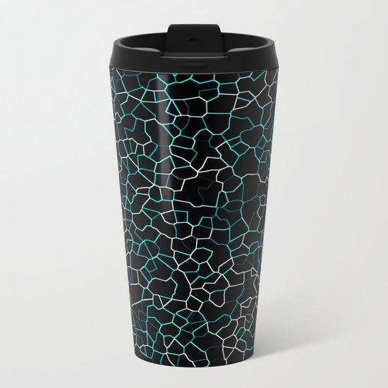 Aqua Crackle Metal Travel Mug
