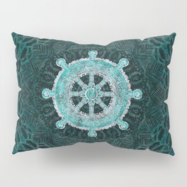 Dharma Wheel - Dharmachakra Silver and turquoise Pillow Sham