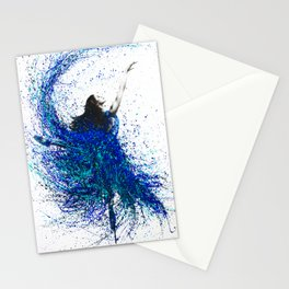 Teal Wave Dance Stationery Cards