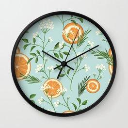 Elderflower & Oranges - Light blue Wall Clock