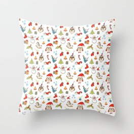 Christmas Pattern with cute owls, candy, deer, mistletoe, angel and Christmas tree. Throw Pillow