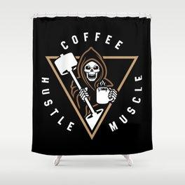 Coffee Hustle Muscle Grim Reaper Shower Curtain