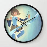 legend of korra Wall Clocks featuring [Legend of Korra] Water by samarasketch