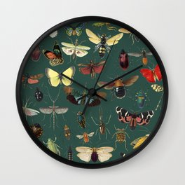 Lovely Butterfly Green Wall Clock