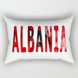 Albania Word With Flag Texture Rectangular Pillow